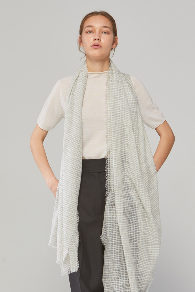 DEMERE 100% CASHMERE GLITTERING SCARF (LIGHT GRAY)