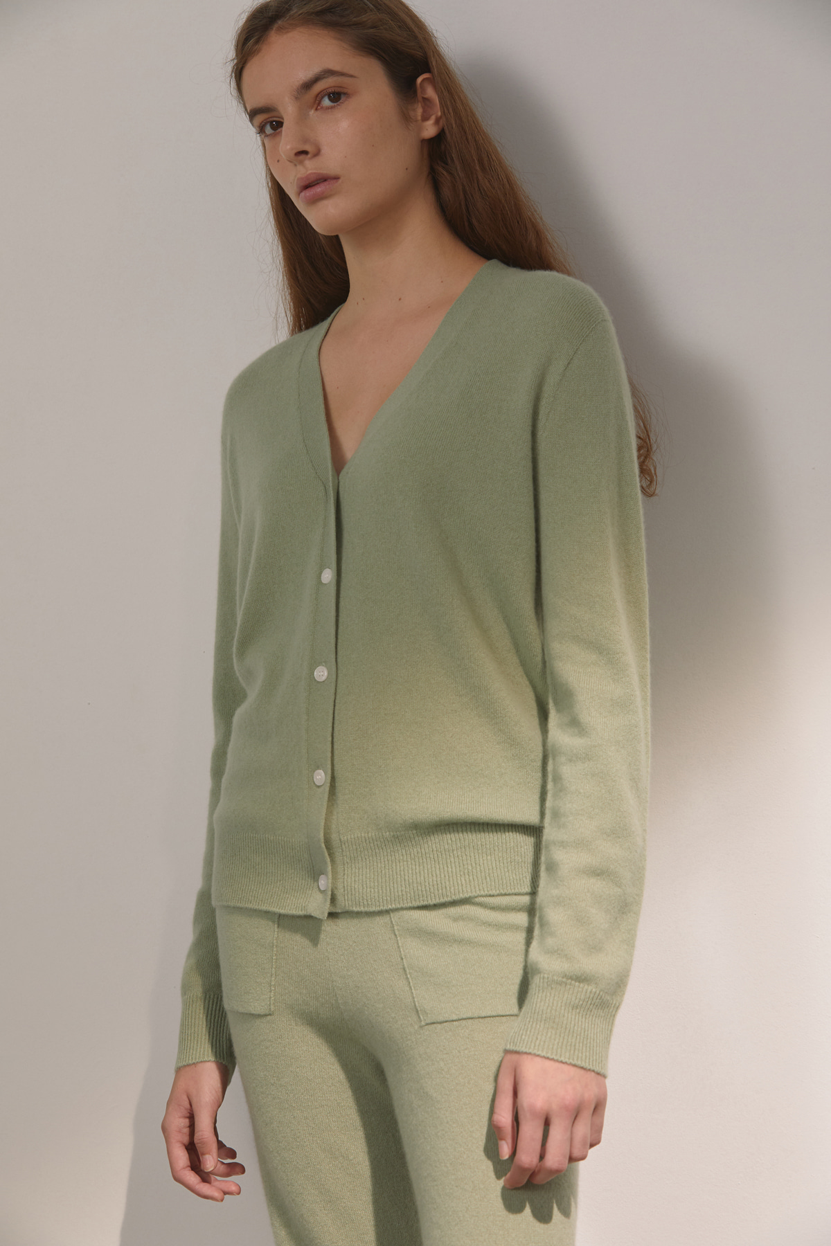 DEMERE CASHMERE 100 CARDIGAN (LIGHT GREEN)