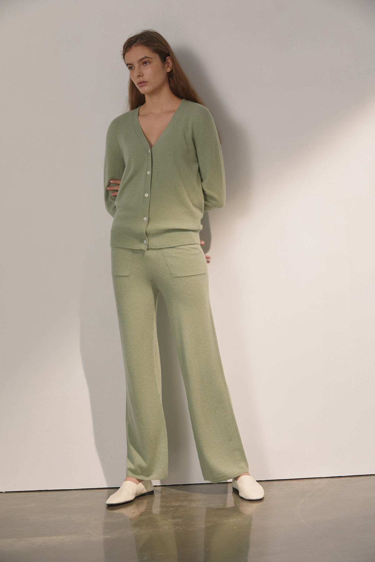 DEMERE CASHMERE 100 PANTS (LIGHT GREEN)