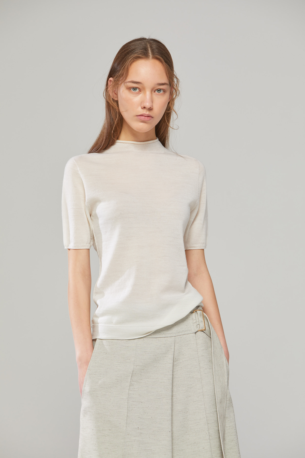 DEMERE 100% WOOL HALF-SLEEVED KNIT (IVORY)