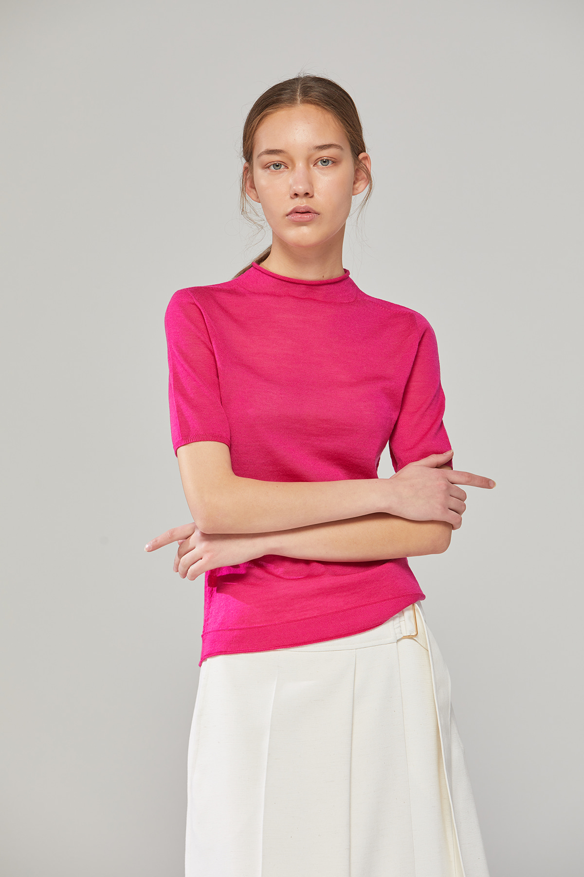 DEMERE 100% WOOL HALF-SLEEVED KNIT (PINK)