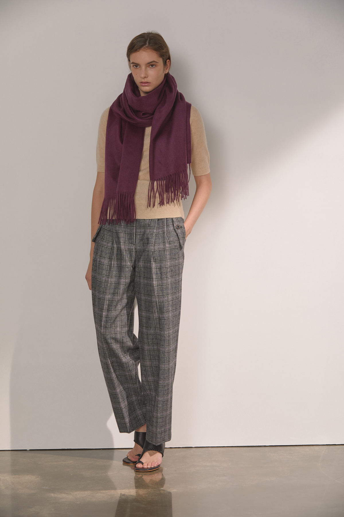 DEMERE WOOL HIGH-WAIST PINTUCK PANTS (CHECK GRAY)